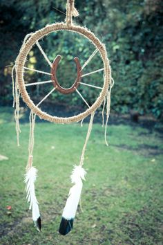 Horse shoe dream catcher. Needs to have more weaving but cute!