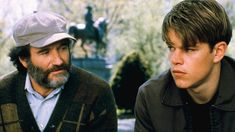 "Robin Williams as Sean Maguire & Matt Damon as Will Hunting in ""Good Will Hunting"" Good Will Hunting, Matt Damon, Robin Williams Movies, Robin Williams Quotes, Billy Elliot, Clint Eastwood, Great Films, Good Movies, 90s Movies"