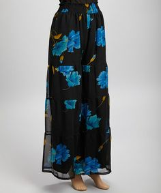 This Black & Teal Floral Palazzo Pants - Women by Ash & Sara is perfect! #zulilyfinds