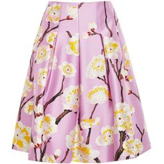 Oscar de la Renta Floral-Print Pleated Skirt ($755) ❤ liked on Polyvore featuring skirts, bottoms, floral, saias, lilac, pleated skater skirt, floral skater skirt, floral circle skirt, floral print skirt and pink pleated skirt