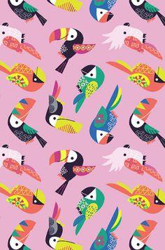 print & pattern: DESIGNER - kat uno More colorful birds bird tropical mexico tiki parrot tucan summer Bird Patterns, Textures Patterns, Fabric Patterns, Print Patterns, Summer Patterns, Graphic Patterns, Motif Tropical, Tropical Pattern, Tropical Birds