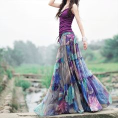 Women Maxi Long Floral Print Chiffon Skirt 2015 Spring Summer New Violet Blue Beach Skirts Extra Long Casual Skirt LS437(China (Mainland))