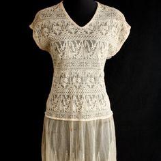 Vintage 1930's Tambour Style Lace Dress
