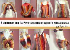 8 Multiusos con uno ó dos rectángulos de crochet
