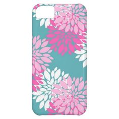 Turquoise and Pink Retro Girly Floral Phone Case Case For iPhone 5C