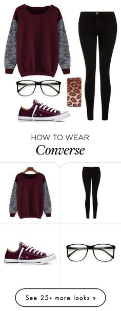 """""""Maroon and black❤️"""" by laney-girl02 on Polyvore featuring Current/Elliott, Converse, women's clothing, women, female, woman, misses and juniors"""