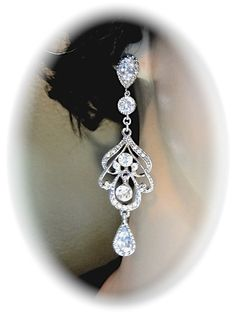 Long rhinestone chandelier earrings ~ Brides earrings ~ Bridal jewelry ~ Prom earrings ~ These are our top selling statement earrings. These