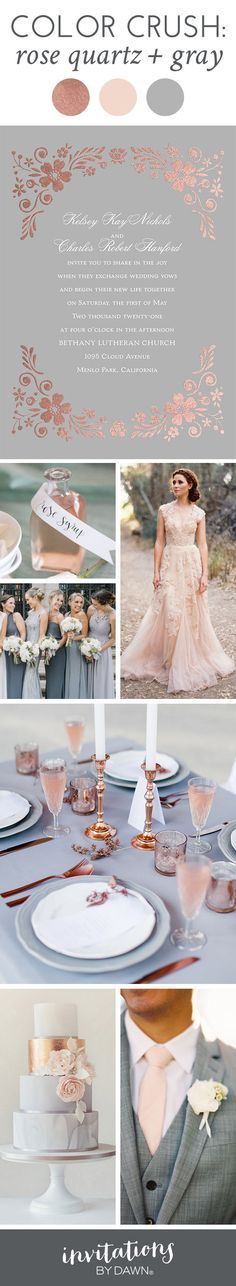 Rose quartz and gray become a gorgeous depiction of your style and personalities. Enjoy this color crush where romance, luxury and simple elegance come together to form a dreamy wedding scene.