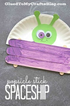 Need a fun end-of-the year arts and crafts idea or story writing inspiration? This craft stick/paper plate alien should do the trick!