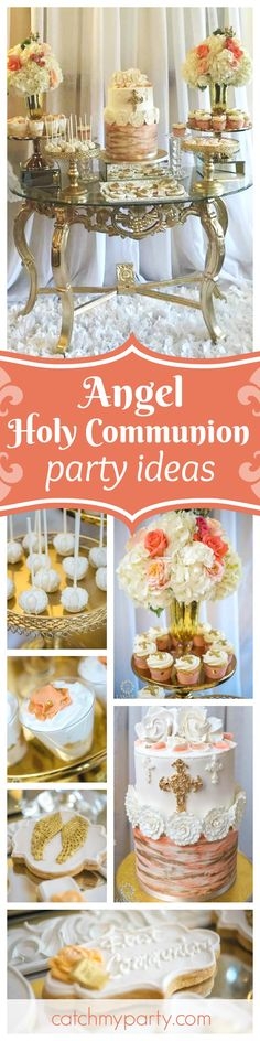 You don't want to miss this gorgeous Angel themed Holy Communion. The dessert table is so beautiful!! See more party ideas and share yours at CatchMyParty.com