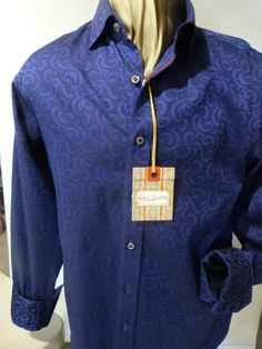 Robert Graham Shirt. NWT Style; Latching Color: Navy Classic Robert Graham detailing on collar and cuffs.