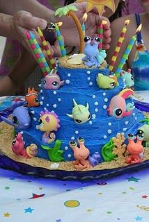 Littlest Pet Shop Ocean Cake - LB and Madlyn's birthday party