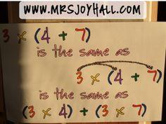 Distributuve Property Example Poster using angry birds Teaching 6th Grade, Third Grade Math, Teaching Math, Teaching Ideas, Interactive Student Notebooks, Math Notebooks, Math Multiplication, Maths, Math Properties