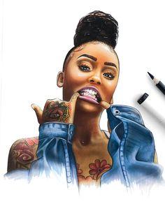 """brienneyvonne 🦄 on Instagram: """"7/30 @ayanacharm #sketch #copic #pencil #markers #art #dopeblackart #youngblackartists #supportblackart #ayanacharm"""" • Instagram"""