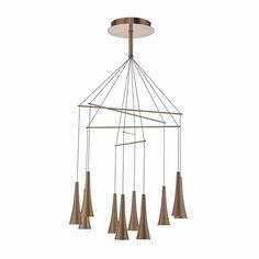 Dar TRO2364 Trombone 10 Light Ceiling Pendant Light In Copper from Lights 4 Living