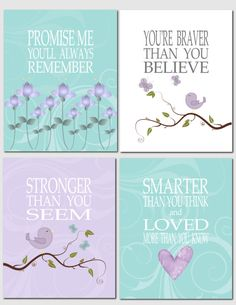 Promise me you'll always remember - Nursery Art Baby Nursery Girl Kids Wall Art Lavender by vtdesigns, $40.00