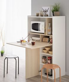 Multifunctional furniture such as this shelf is practical and fully in line with the trend … - Home Decor Ideas DIY Furniture, Kitchen Design Small, Tiny House Furniture, Home, Home Furniture, Small Kitchen, Creative Furniture, Multifunctional Furniture, Kitchen Design