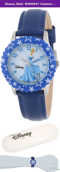 Disney Kids' W000047 Cinderella Time Teacher Stainless Steel Watch with Blue Leather Band. W000047 Features: -Watch. -Band material: Leather. -Stainless steel case, blue bezel. -Color: Blue. Style: -Children's Watches. Band Material: -Leather. Watch Color: -Blue. Face Color: -White/Beige. Product Type: -Analog. Shape: -Round/Oval. Lifestage: -Kids. Character: -Cinderella. Character: -Disney Princess.