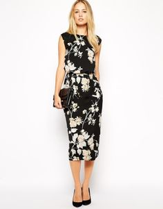 ASOS Pencil Dress in Bird and Floral Print
