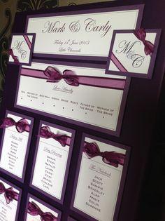 Organza Ribbon Bowed | Fabric Canvas covered Wedding Table Plan