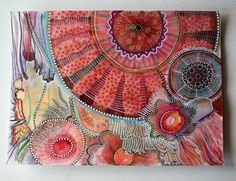 original abstract gouache and markers painting by Elena Nuez Watercolor Paintings Abstract, Pink Abstract, Gouache Painting, Abstract Art, Painting Collage, Yellena James, Cult, Zentangle Patterns, Zentangles