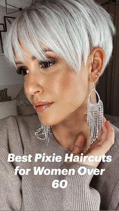 Short Silver Hair, Short Choppy Hair, Short Grey Hair, Short Hair With Layers, Short Hair Cuts For Women, Short Pixie Cuts, Fine Hair Pixie Cut, Blonde Pixie Cuts, Short Pixie Haircuts