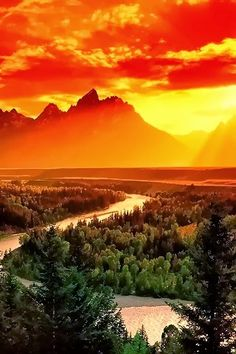 Sunset at Grand Teton National Park, Wyoming