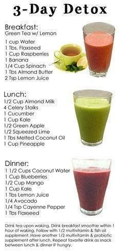 3 day detox. Juicing recipes. For breakfast lunch and dinner