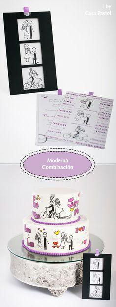 Modern wedding invitations and cake ideas. Pasteles e invitaciones modernas para boda Guatemala. #wedding