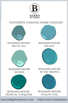 Our favourite coastal home colours from Benjamin Moore - Baltic Sea, Day Spa, Skydive, In the tropics, Tropical Turquoise and Avalon Teal. These colours are great to get a tropical atmosphere for your home Turquoise Paint Colors, Coastal Paint Colors, Dining Room Paint Colors, Room Wall Colors, Door Paint Colors, Turquoise Painting, Paint Colors For Home, House Colors, Benjamin Moore Turquoise