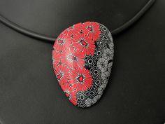 Statement Ketten - Statment Kette rot schwarz, Kunst aus Polymer clay - ein Designerstück von filigran-Design bei DaWanda