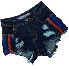 Shorts Jeans Desetroyed com Faixa Lateral DuoCouro (Vermelha e Azul) daffc501234