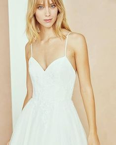 Image may contain: 1 person, standing Amsale Bridal, Beautiful Dream, The Chic, Dream Wedding Dresses, Bridal Boutique, Camisole Top, Wedding Inspiration, Bride, Tank Tops