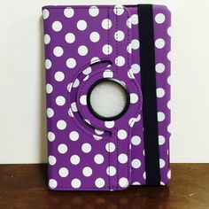 Polka-Dot 360 rotation case iPad mini 1/2/3 Polka-Dot rotation case iPad mini 1/2/3 Cute 360 rotate Polka-Dot leather case for iPad mini 1/2/3 generations with Front and Back full cover as well as smart automatic wake/Sleep function  Brand New Case  Color: Purple/White What a nice deal:) Accessories