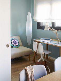 Bright Blue Accents Decor In A Barcelona Apartment – The Design Stash Home Office, Barcelona Apartment, Diy Zimmer, Bleu Pastel, Blog Deco, Small Living Rooms, Scandinavian Interior, Interiores Design, Cozy House