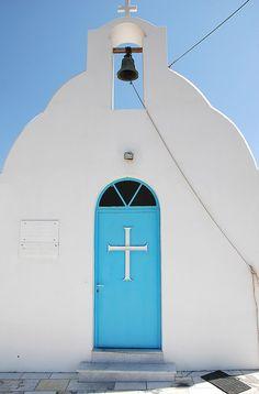 Orthodox Cross on the door of a small church in Naxos Island, Greece Naxos Greece, Crete, Macedonia, Albania, Bulgaria, Santorini House, Christian Symbols, Place Of Worship, Ancient Greece