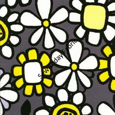 Flower Buzz Gray  What's The Buzz Collection  by SewTodayFabric, $4.95/ 1/2 yd Guest Room, Fabrics, Nursery, Quilts, Gray, Yellow, Unique Jewelry, Handmade Gifts, Flowers