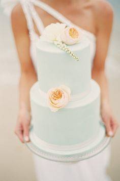 This cake with its soft color scheme is absolutely beautiful...perfect for a beach #wedding! From http://stylemepretty.com/2012/12/07/melbourne-beach-shoot-from-s-leishman-wedding-photography/  Photo Credit: http://stewartleishman.com/  Cake by http://onesweetgirl.com.au/