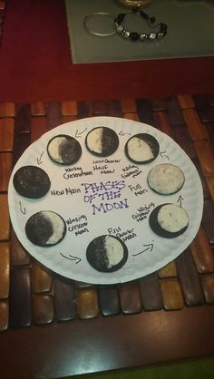 Oreo phases of the Moon , science project. My son came home upset because he had to draw the moon, while all the other kids wrote about it.
