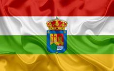 Download wallpapers Flag of La Rioja, autonomous community, province, Spain, silk flag, La Rioja coat of arms