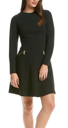 The perfect dress for…A night on the town | MICHAEL Michael Kors® Black Flare Dress with zipper detail