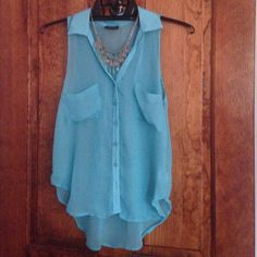 SALE Rue21 Blue Sleeveless Blouse - size S Rue21 Sleeveless Blouse, sheer - size S Rue 21 Tops