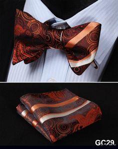 GC29 ORANGE Floral 100% Silk Butterfly Tie Self Tie Bow Tie Pocket Square Bow tie Set