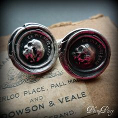 Skull Cufflinks - From an antique Momento Mori Wax Seal with each cuff link featuring a skull inscribed in latin 'As you are, so once was I'. $160.00, via Etsy.