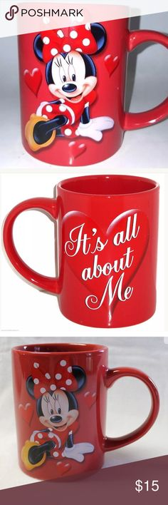 """Minnie Mouse valentines mug """"It's all about me"""" Gorgeous Minnie Mouse Disney 12 ounce coffee mug cup. """"It's all about me"""" perfect for valentines. Disney Accessories"""