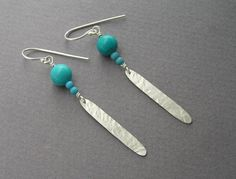 Silver Feather and Turquoise Dangle Earrings by DaliaShamirJewelry