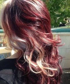 15 Best Long Curly Hairstyles for 2014 | Popular Haircuts Red Hair With Blonde Highlights, Red Blonde Hair, Blonde Streaks, White Blonde, Blonde Color, Red Peekaboo Highlights, Blonde Chunks, Curly Blonde, Platinum Highlights