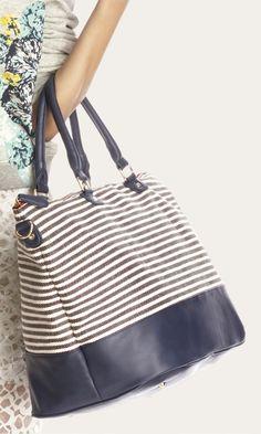 Blue & white striped soft canvas duffle bag ==