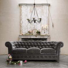 greige: interior design ideas and inspiration for the transitional home : Grey Velvet Chesterfield