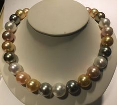 """Natural 13-15MM White SOUTH SEA Coin Pearl Necklace 17/"""""""